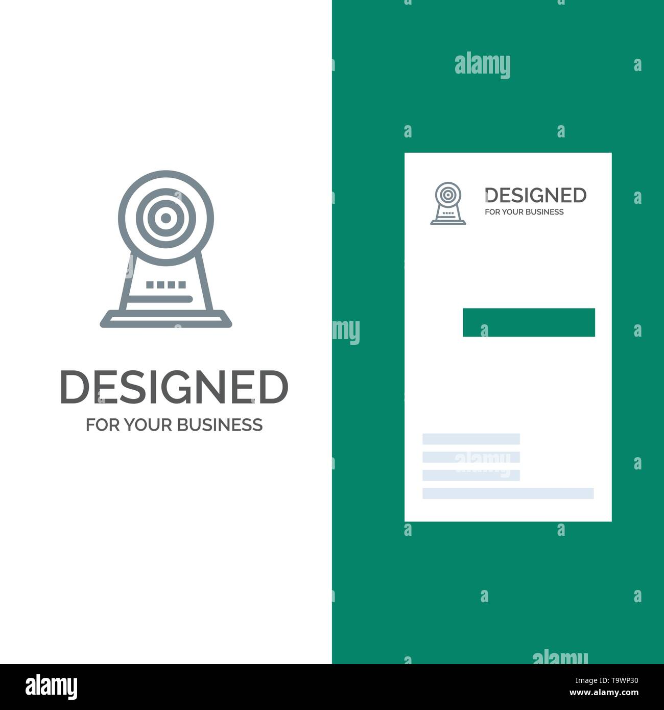 Camera, Webcam, Security, Hotel Grey Logo Design and Business Card Template - Stock Image