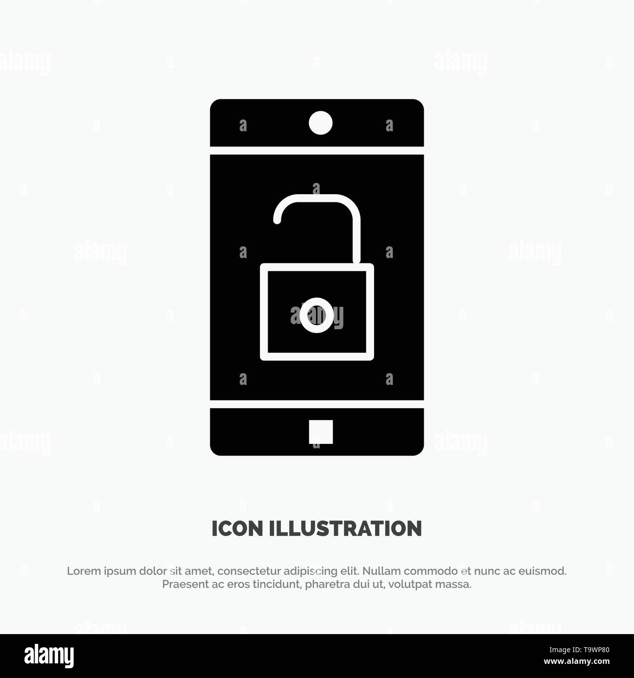 Application, Mobile, Mobile Application, Unlock solid Glyph Icon vector - Stock Image