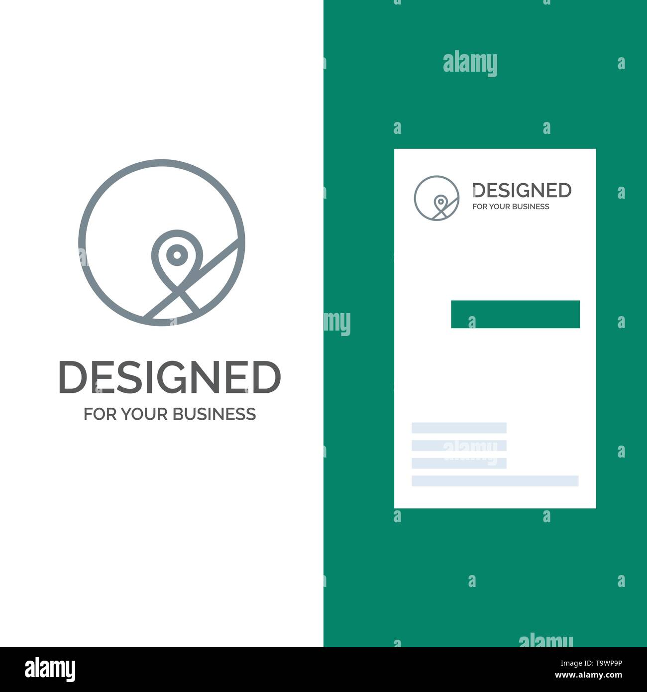 Basic, Map, Location, Map Grey Logo Design and Business Card Template - Stock Image