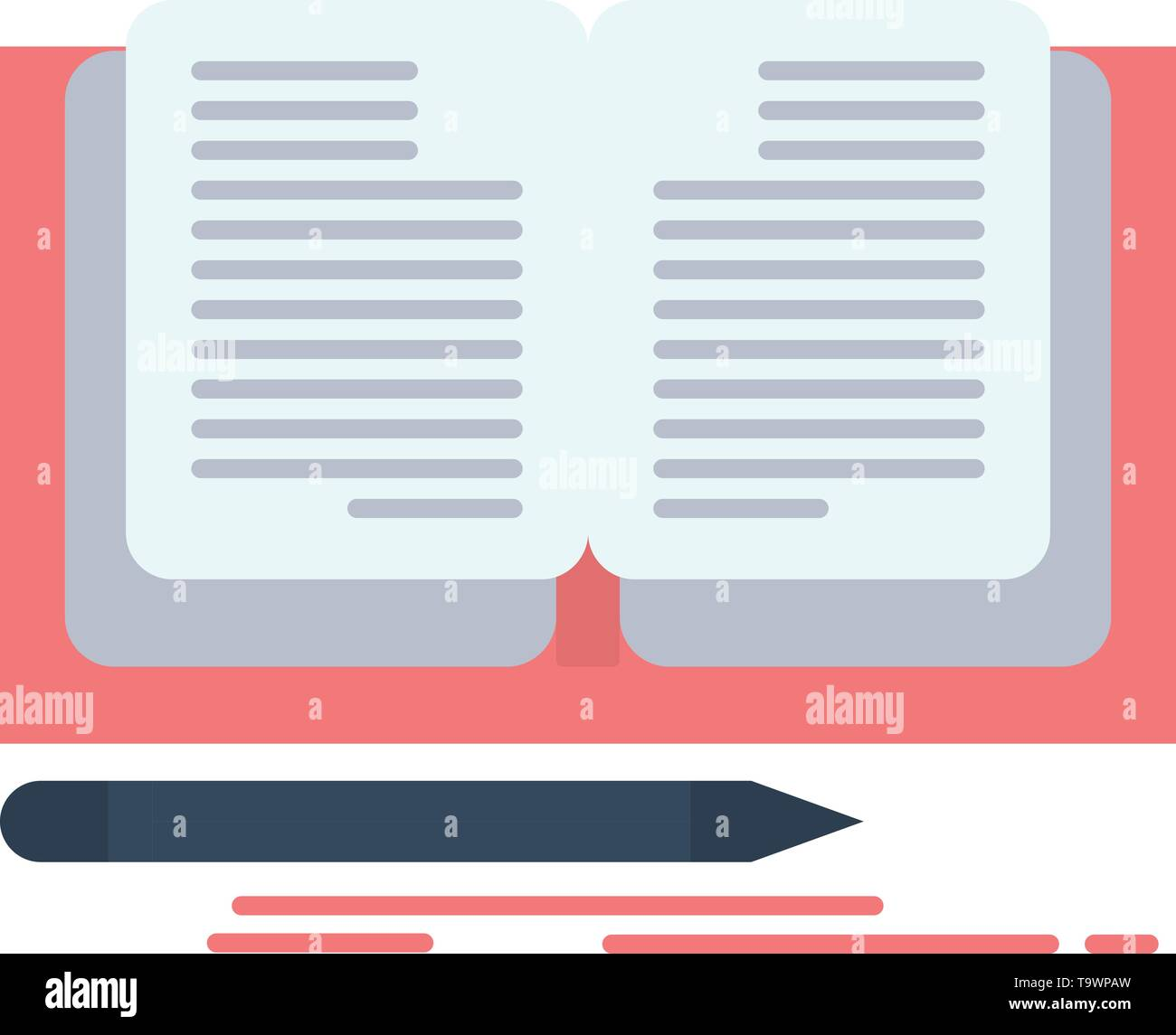 Writing, Novel, Book, Story  Flat Color Icon. Vector icon banner Template - Stock Image