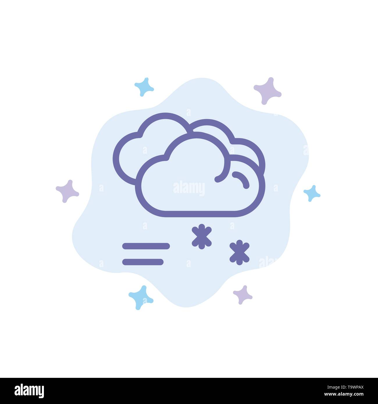 Cloud Raining, Forecast, Raining, Rainy Weather Blue Icon on Abstract Cloud Background - Stock Image