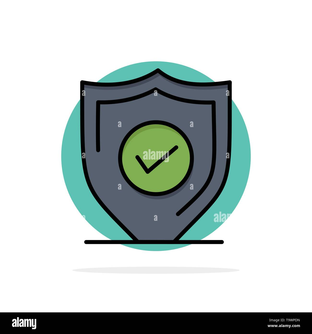 Confirm, Protection, Security, Secure Abstract Circle Background Flat color Icon - Stock Image
