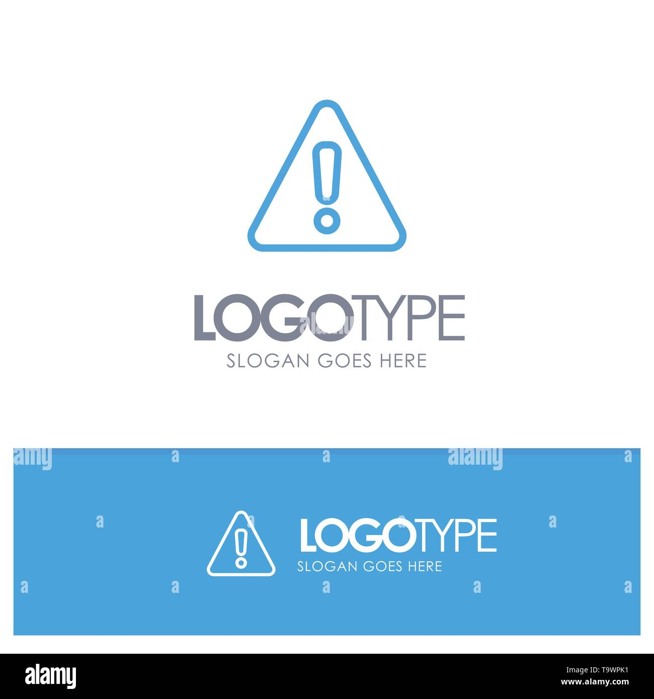 Alert, Danger, Warning, Sign Blue Outline Logo Place for Tagline - Stock Image