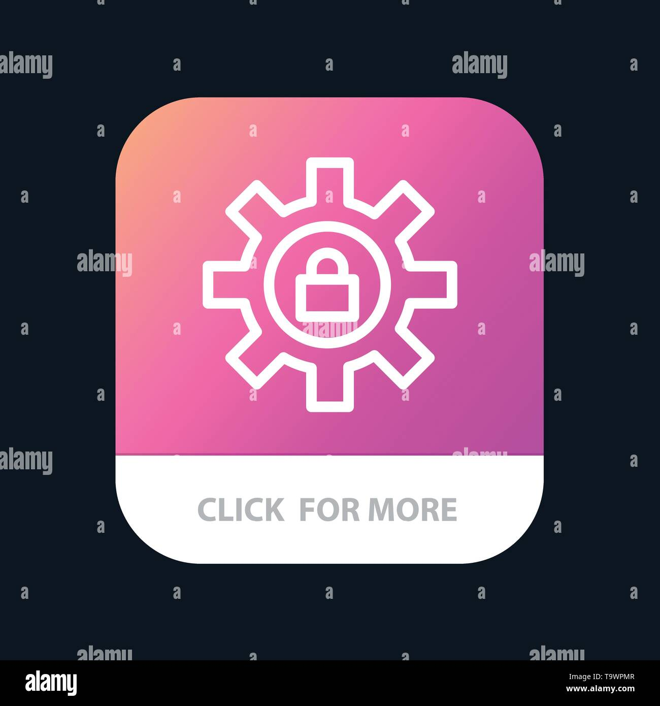 Gear, Setting, Lock, Support Mobile App Button. Android and IOS Line Version - Stock Image