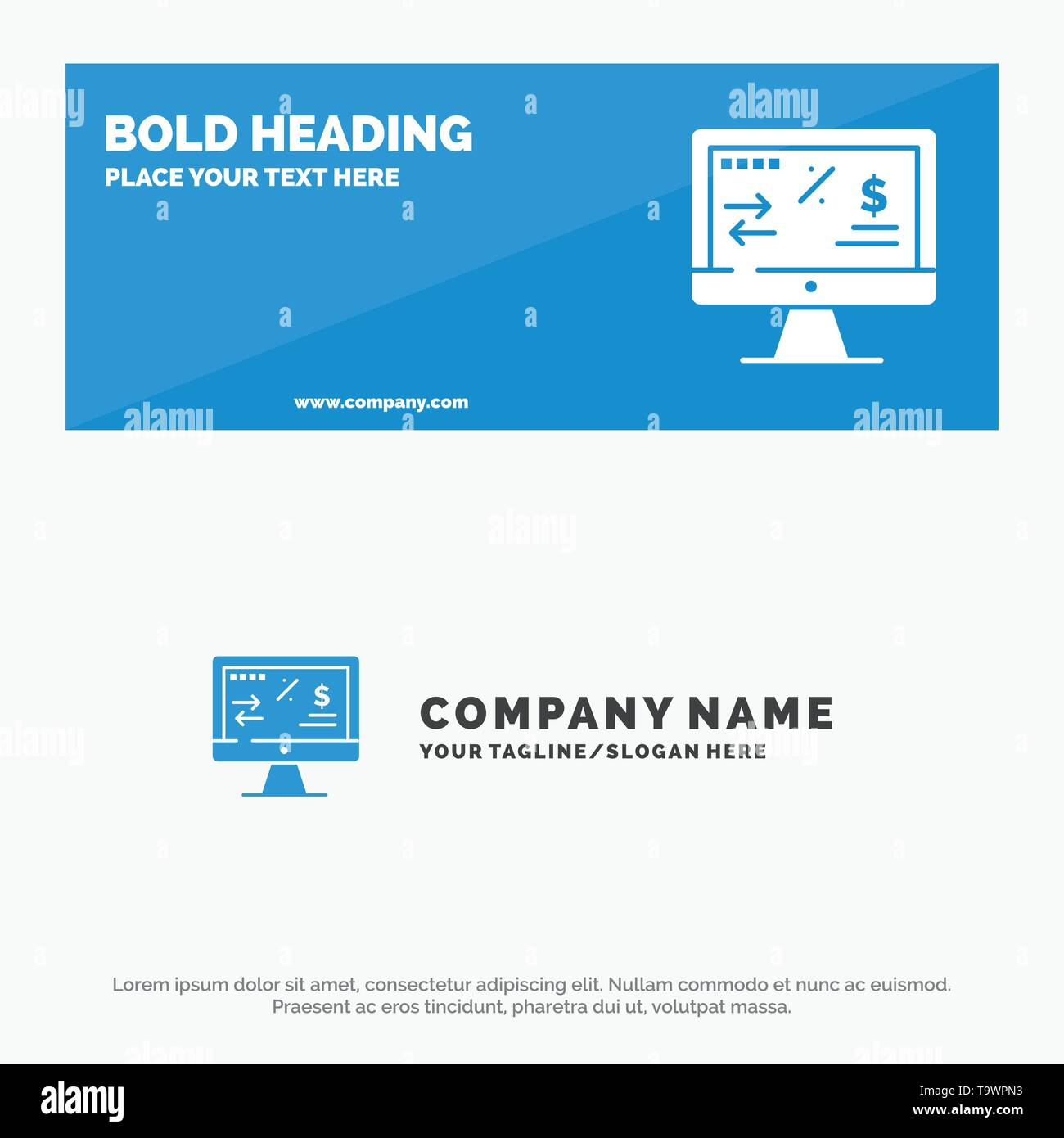 Tax Regulation, Finance, Income, Computer SOlid Icon Website Banner and Business Logo Template - Stock Image