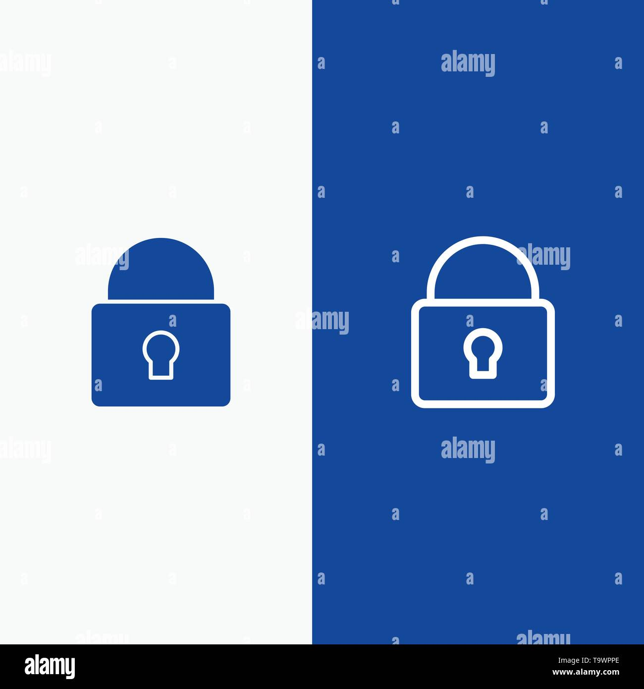 Lock, Security, Locked, Login Line and Glyph Solid icon Blue banner Line and Glyph Solid icon Blue banner - Stock Image