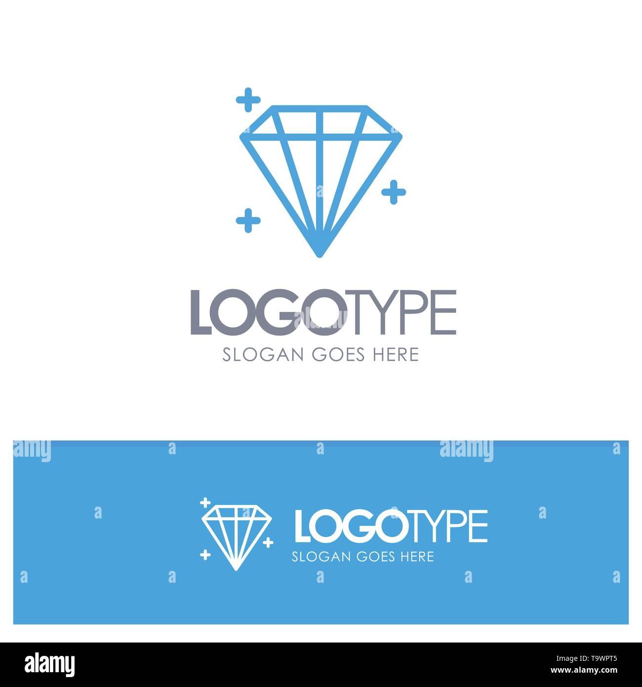 Diamond, Jewel, User Blue Outline Logo Place for Tagline - Stock Image