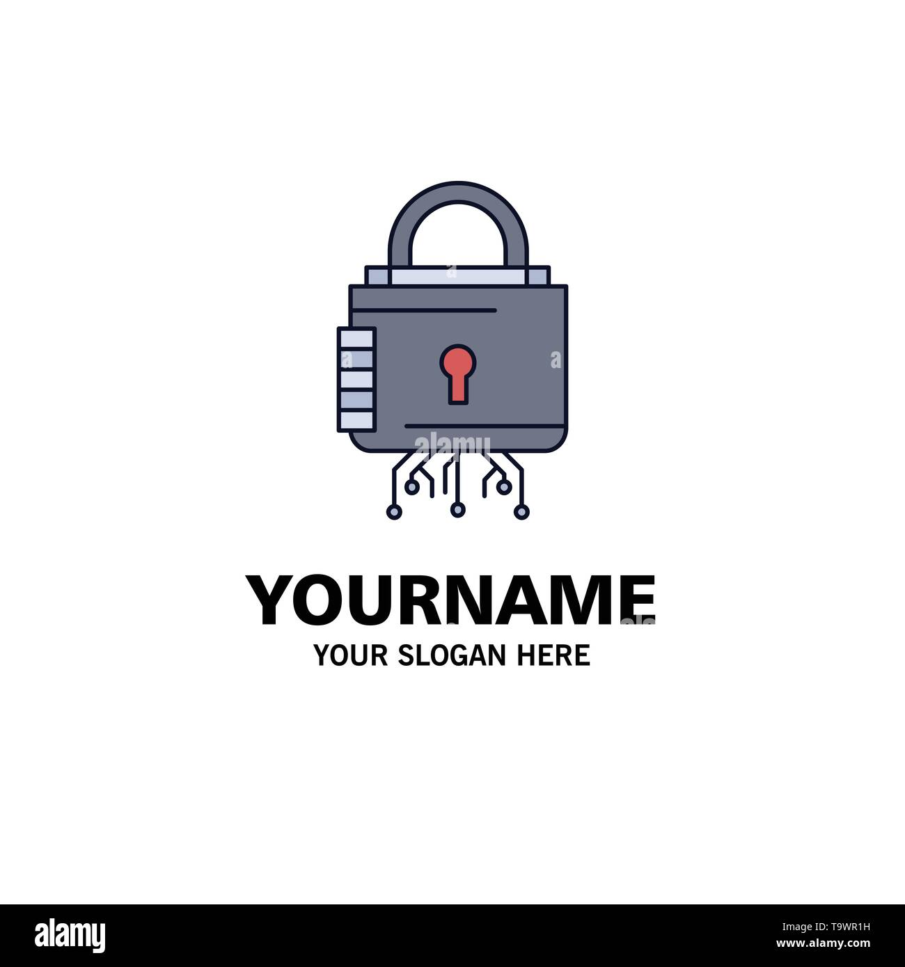 Security, cyber, lock, protection, secure Flat Color Icon Vector - Stock Image
