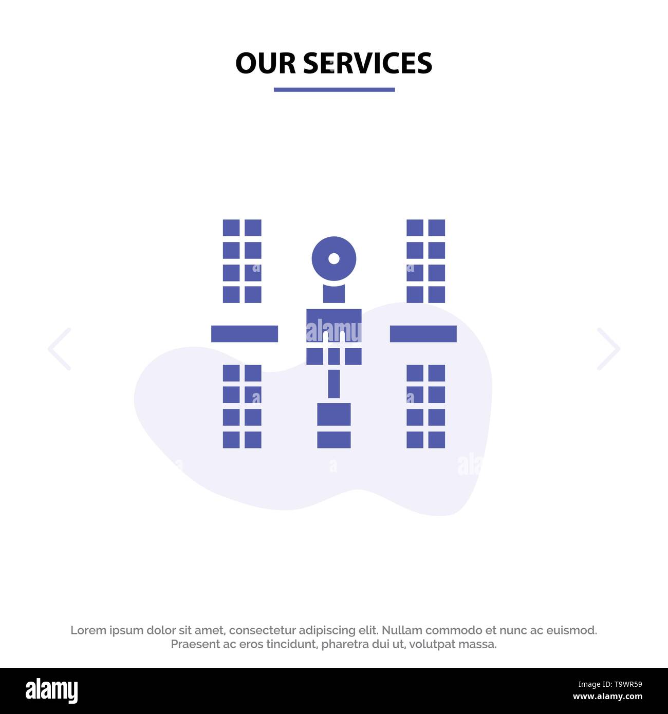 Our Services Complex, Orbital, Platform, Satellite, Space Solid Glyph Icon Web card Template - Stock Image