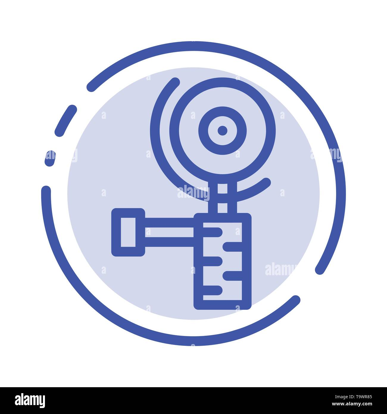 Construction, Grinder, Grinding Blue Dotted Line Line Icon - Stock Vector