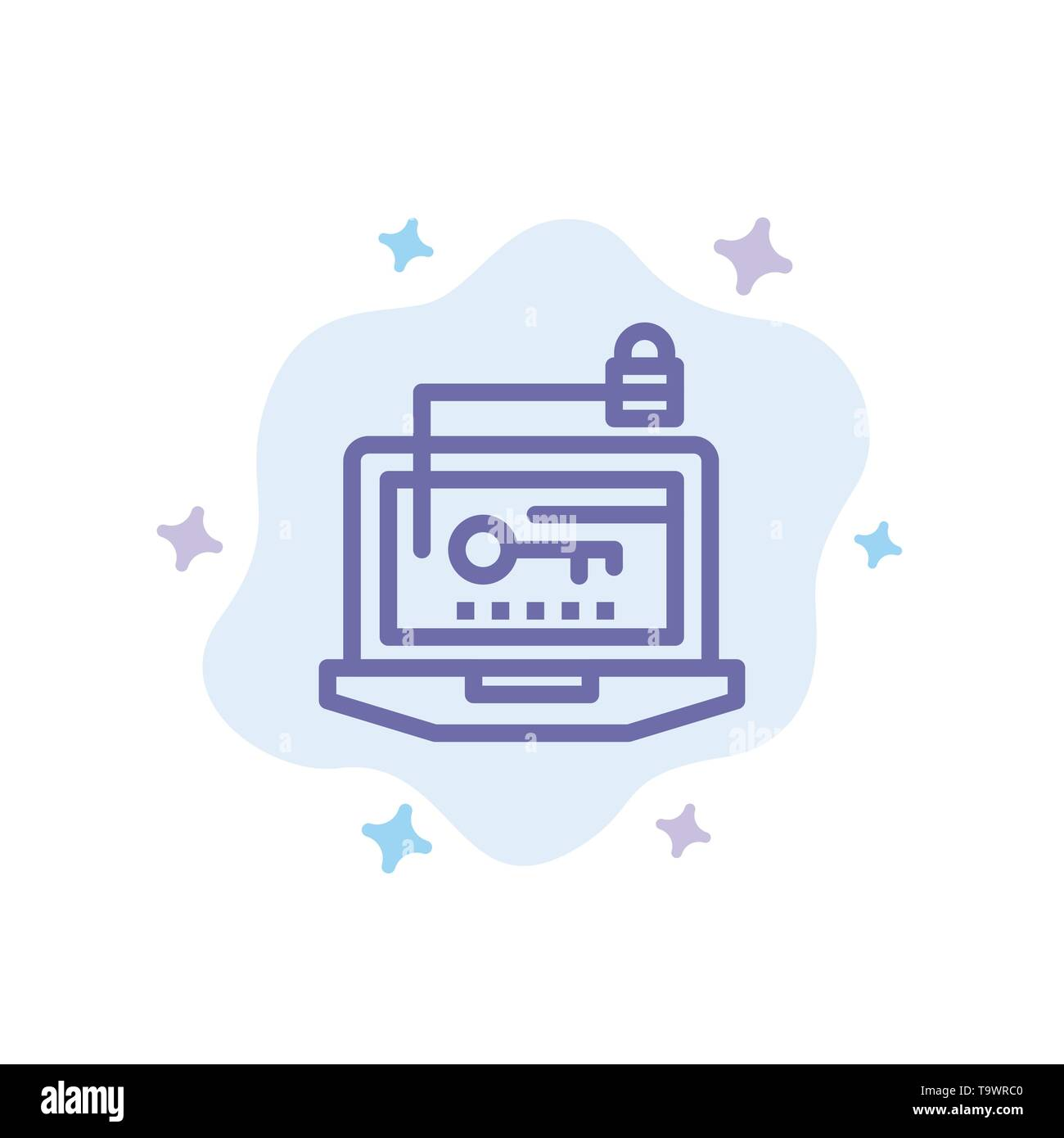 Access, Computer, Hardware, Key, Laptop Blue Icon on Abstract Cloud Background - Stock Image