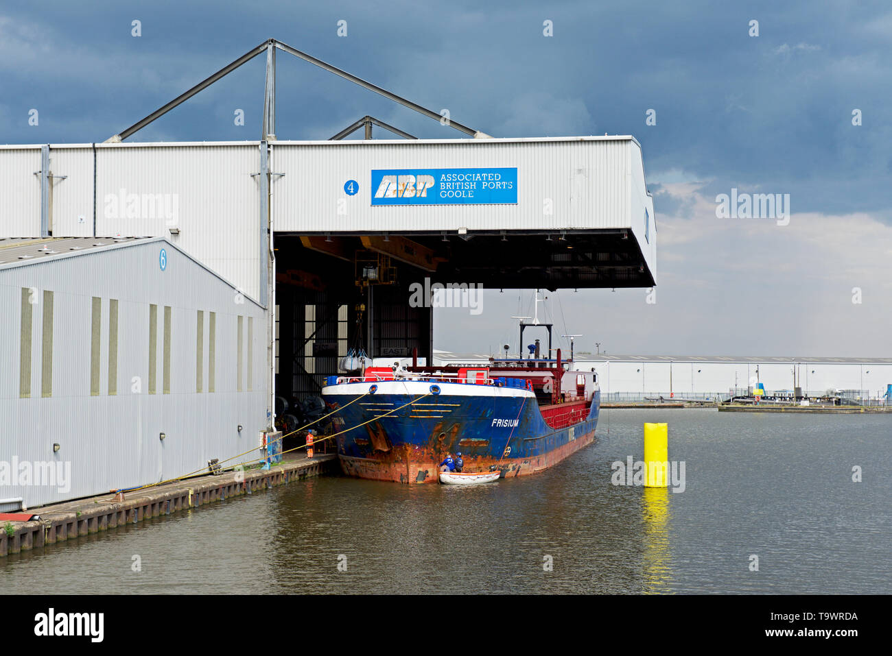 Ship being unloaded in Goole Docks, East Yorkshire, England UK Stock Photo