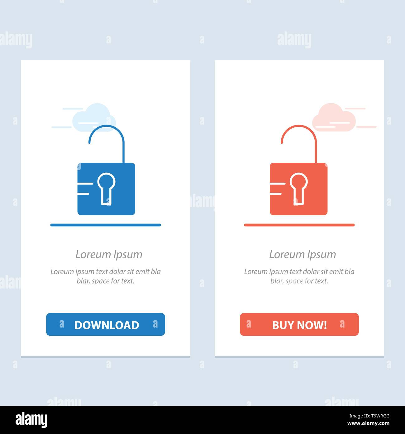 Unlock, Study, School  Blue and Red Download and Buy Now web Widget Card Template - Stock Image