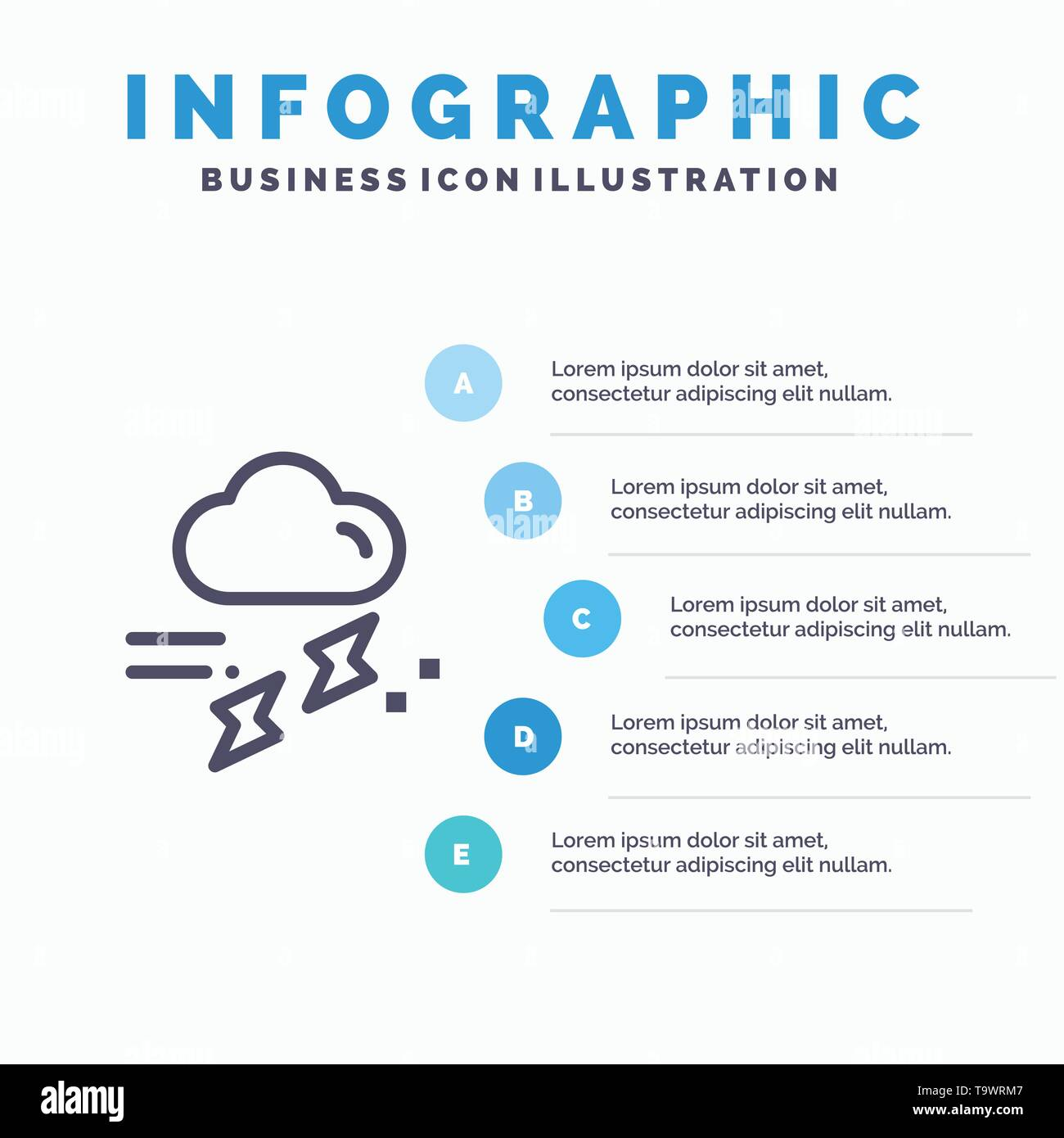 Cloud, Rain, Rainfall, Rainy, Thunder Line icon with 5 steps presentation infographics Background - Stock Image