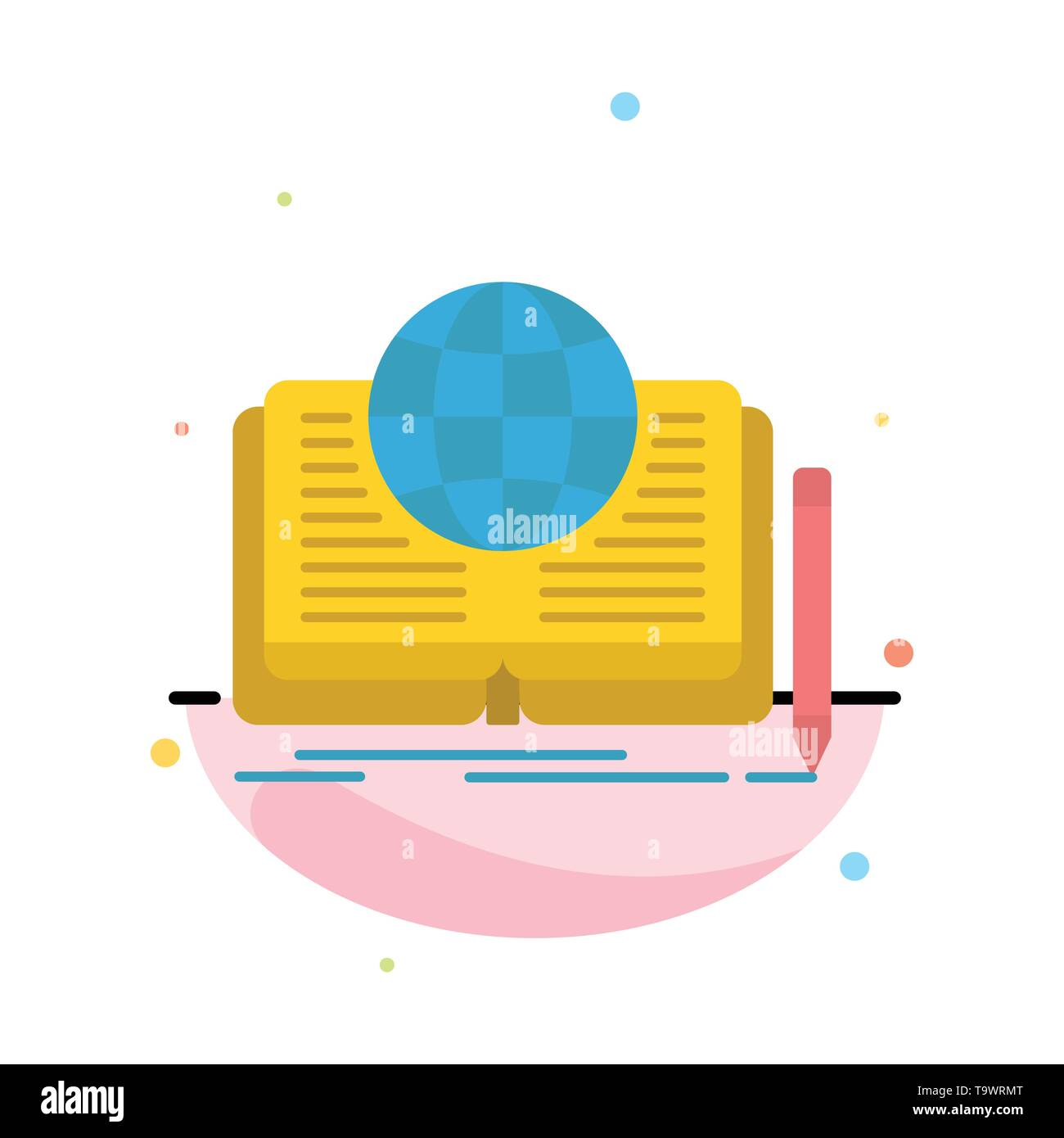 Writing, Novel, Book, Story, Theory Abstract Flat Color Icon Template - Stock Image