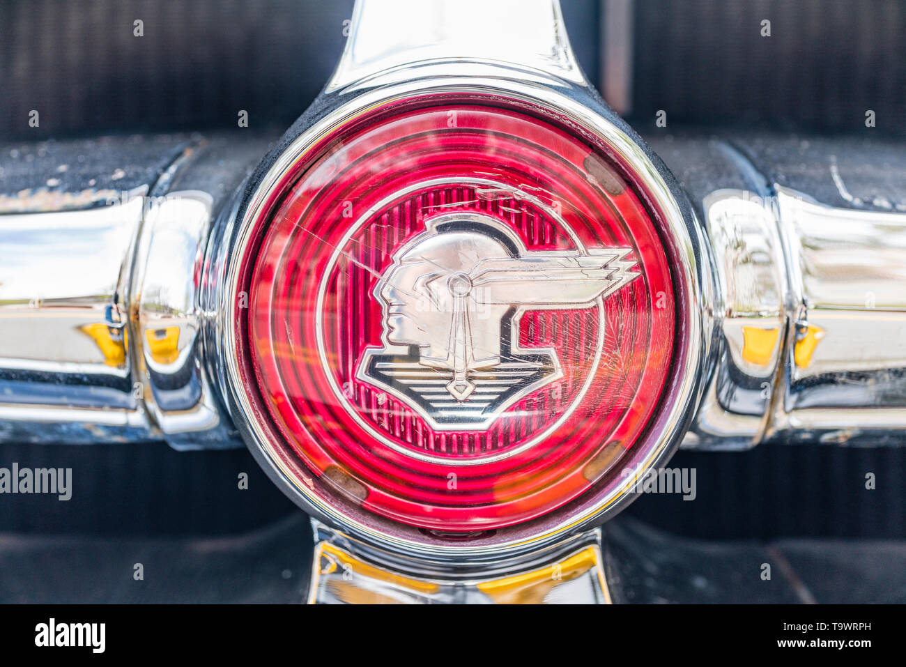 A detail of the 1952 Pontiac automobile's logo of the head and headdress of Chief Pontiac. This design was a result of the update made in the 1930's t - Stock Image