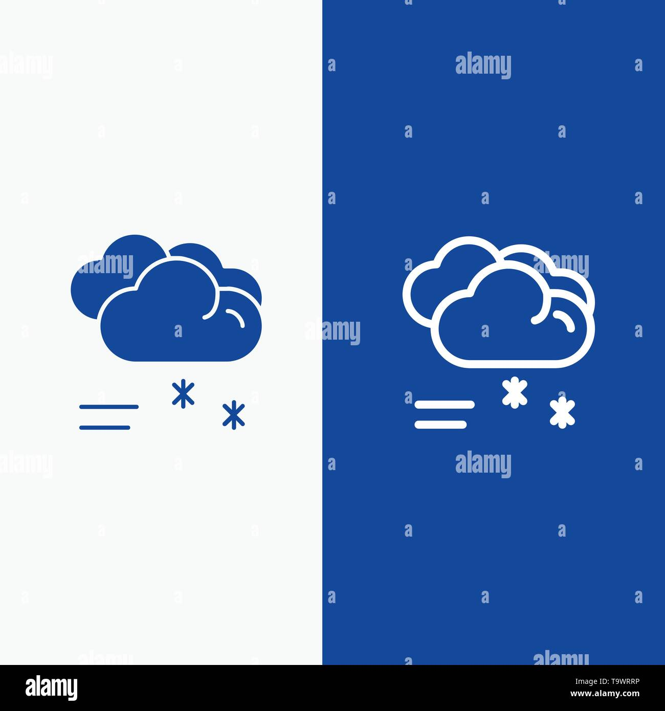 Cloud Raining, Forecast, Raining, Rainy Weather Line and Glyph Solid icon Blue banner Line and Glyph Solid icon Blue banner - Stock Image