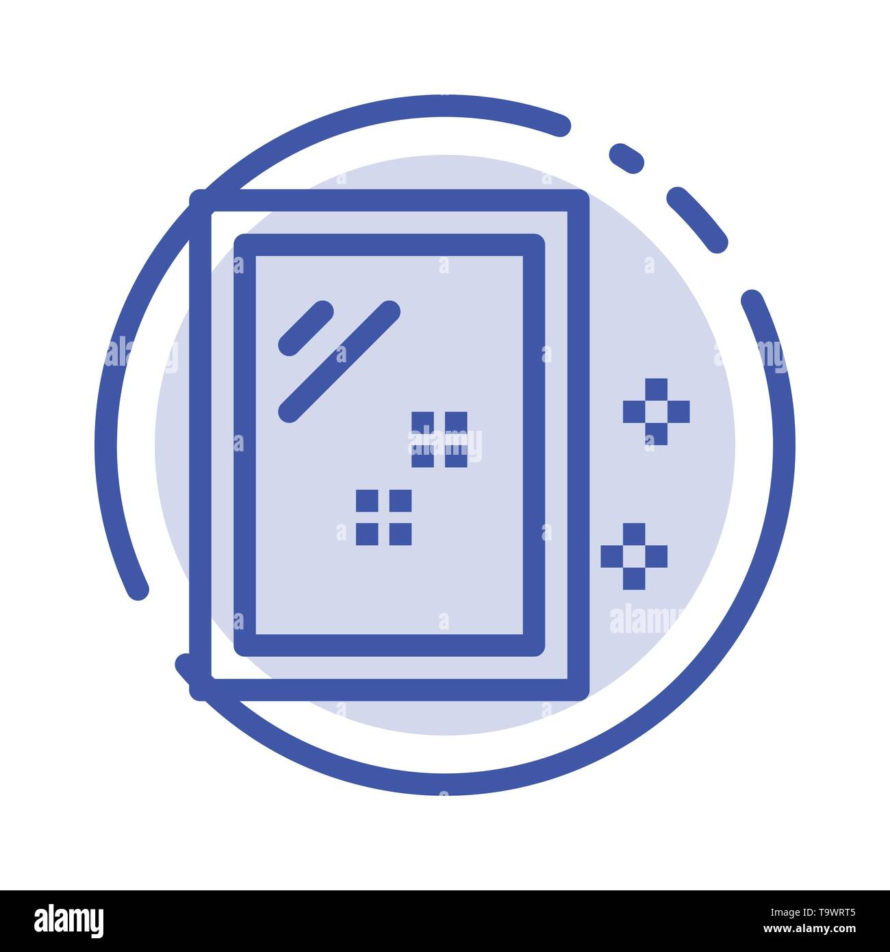 Door, Mirror, Cleaning, Wash Blue Dotted Line Line Icon - Stock Image