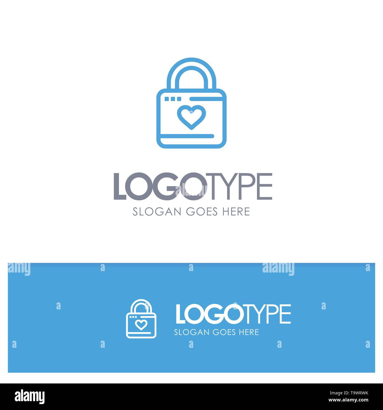 Lock, Locker, Heart, Heart Hacker, Heart Lock Blue Outline Logo Place for Tagline - Stock Image