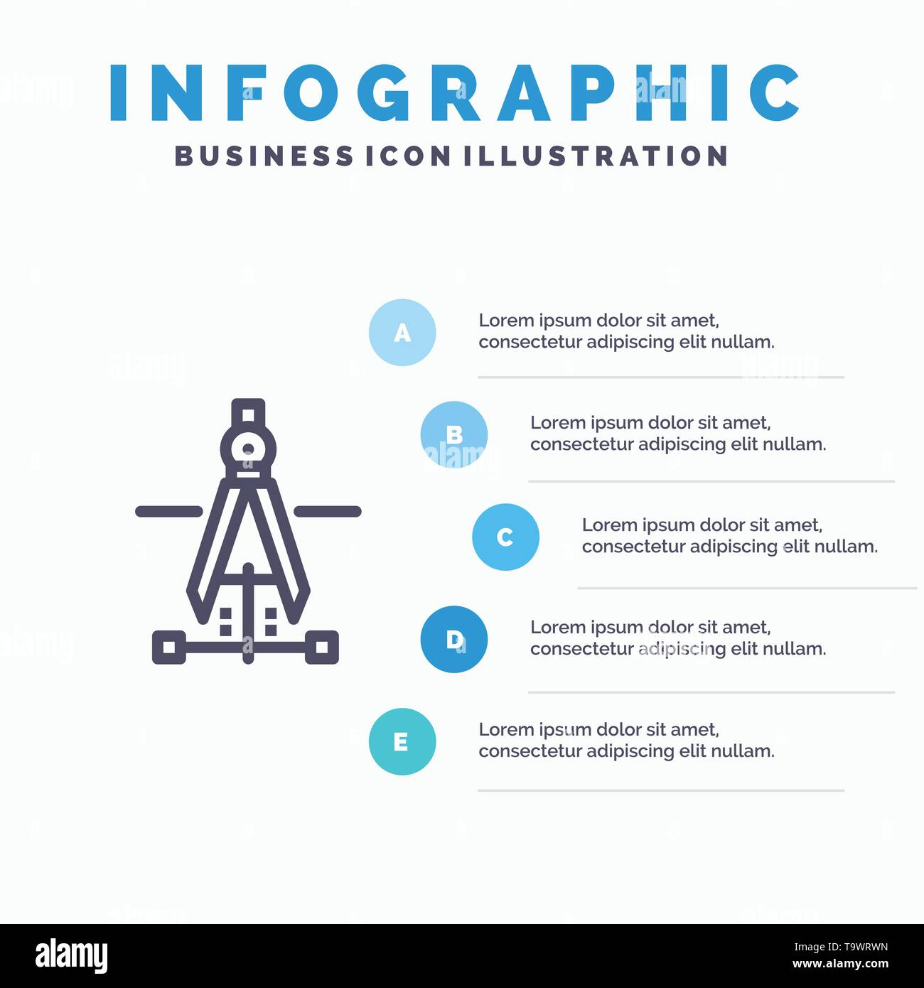 Compass, Drawing, Education, Engineering Blue Infographics Template 5 Steps. Vector Line Icon template - Stock Image
