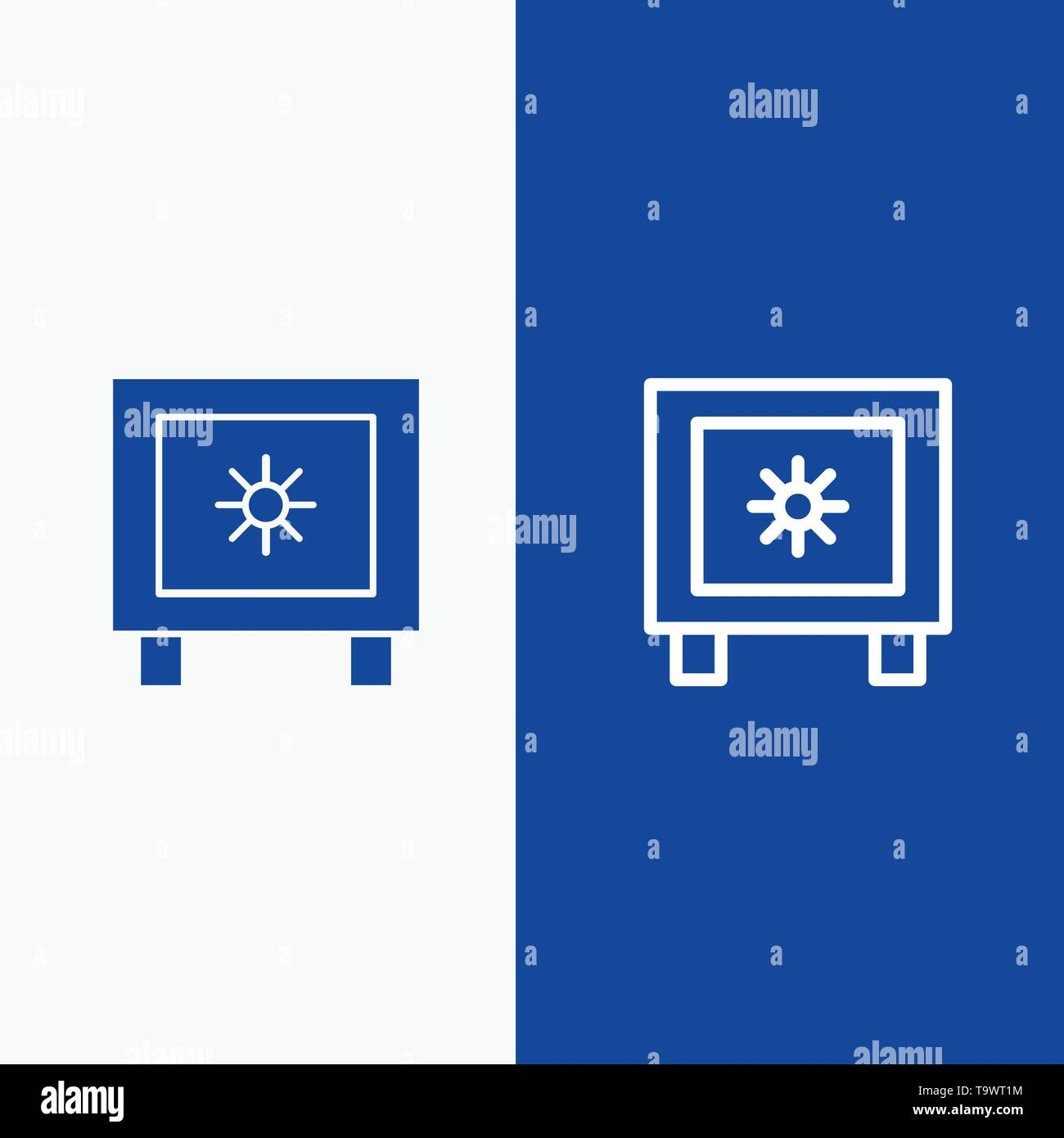 Locker, Lock, Global, Logistic Line and Glyph Solid icon Blue banner Line and Glyph Solid icon Blue banner - Stock Image