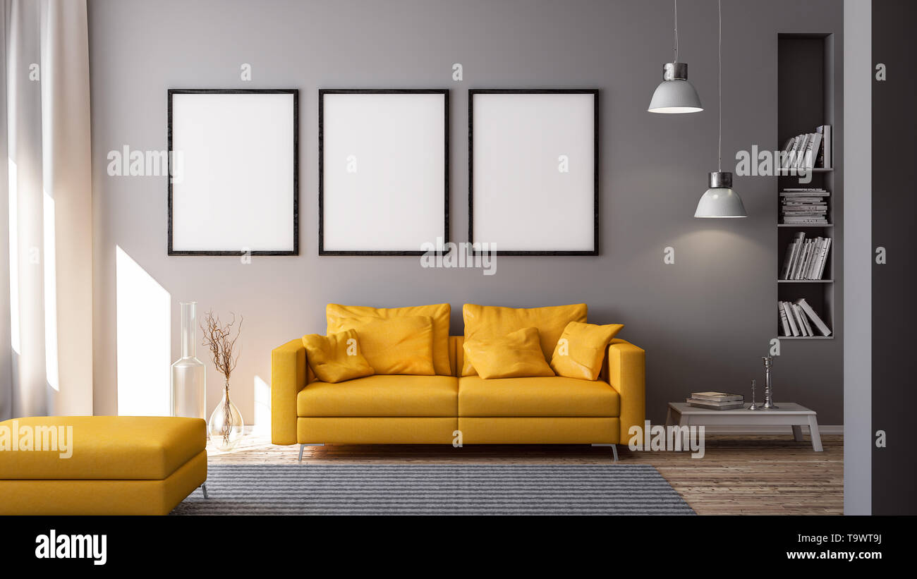 3d Rendering Of Yellow Couch Or Sofa In Living Room In Front Of Grey Wall With Copy Space And Modern Or Minimalistic Interior And White Floor Stock Photo Alamy