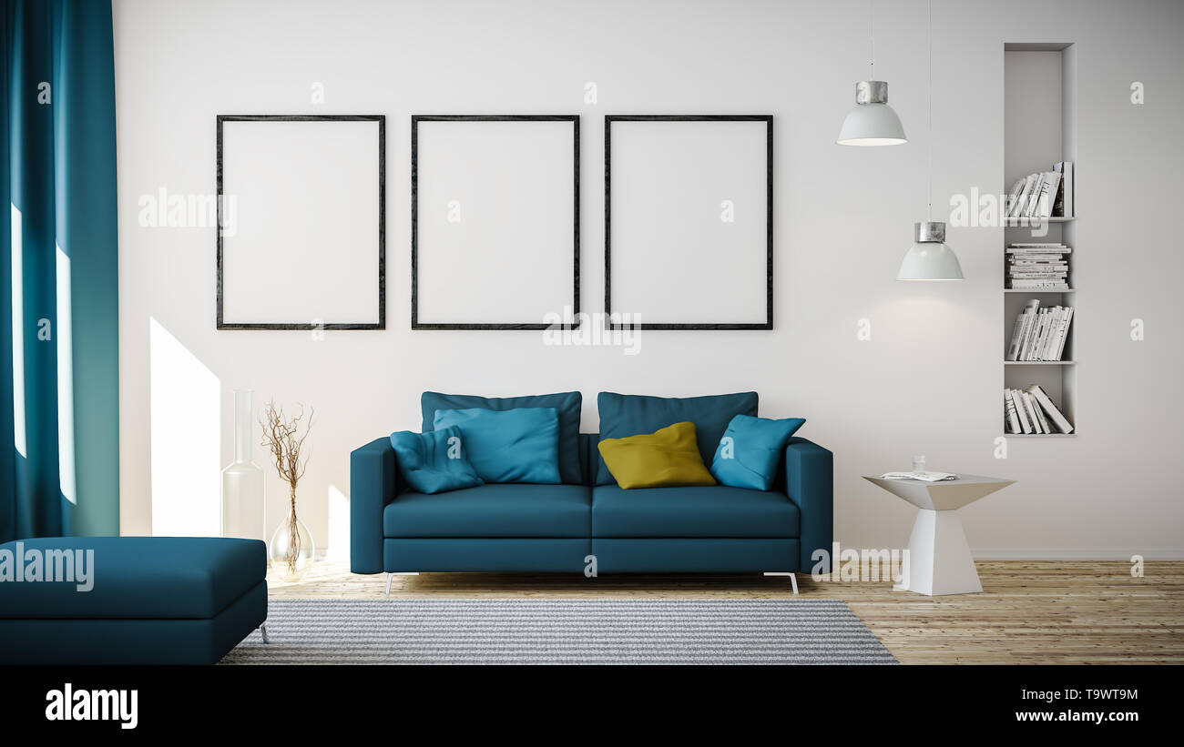 3d Rendering Of Blue Couch Or Sofa In Living Room In Front Of White Wall With Copy Space And Modern Or Minimalistic Interior And White Floor Stock Photo Alamy
