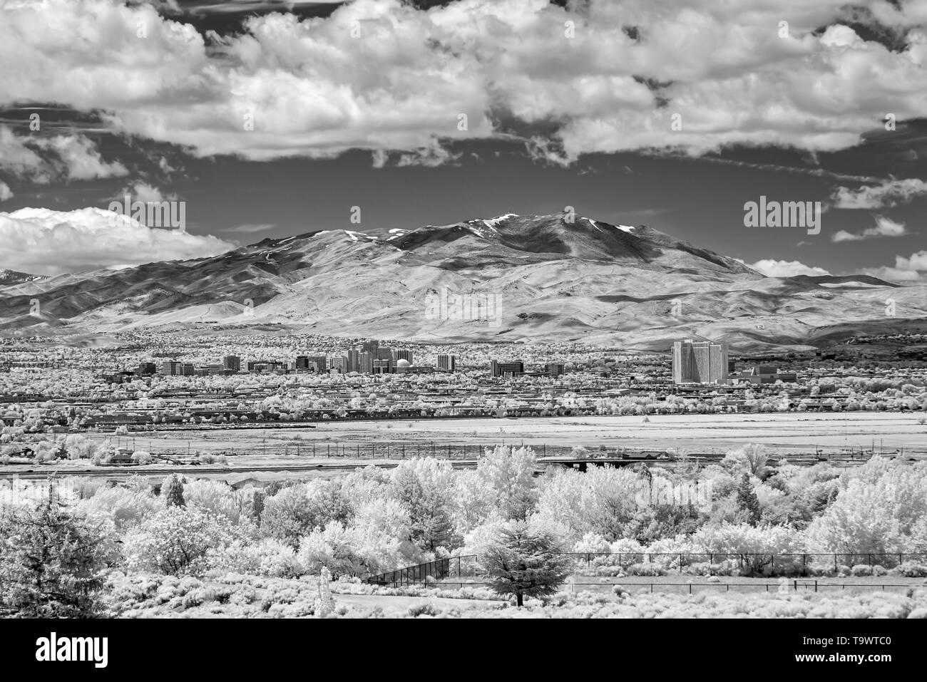 City of Reno Cityscape in infrared monochrome. - Stock Image