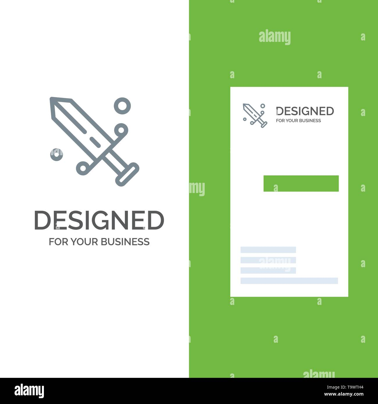 Competition, Fencing, Mask, Olympic Grey Logo Design and Business Card Template - Stock Vector