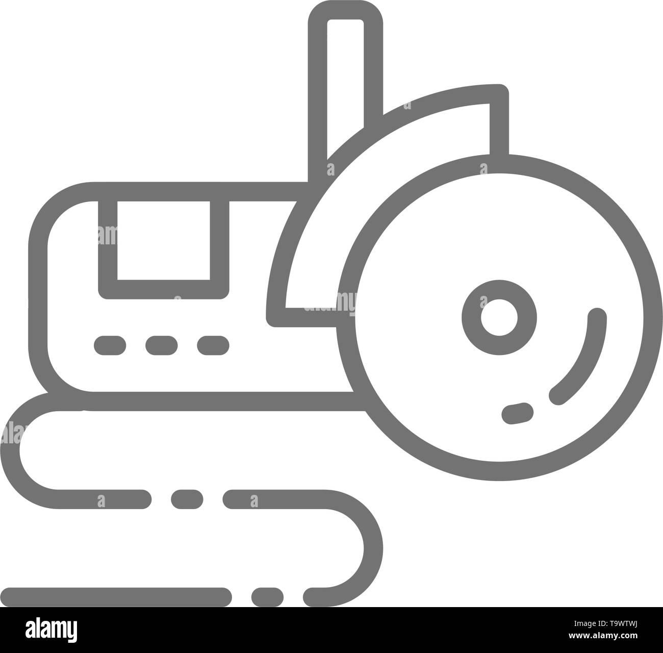 Bulgarian saw, angle grinder line icon. - Stock Vector