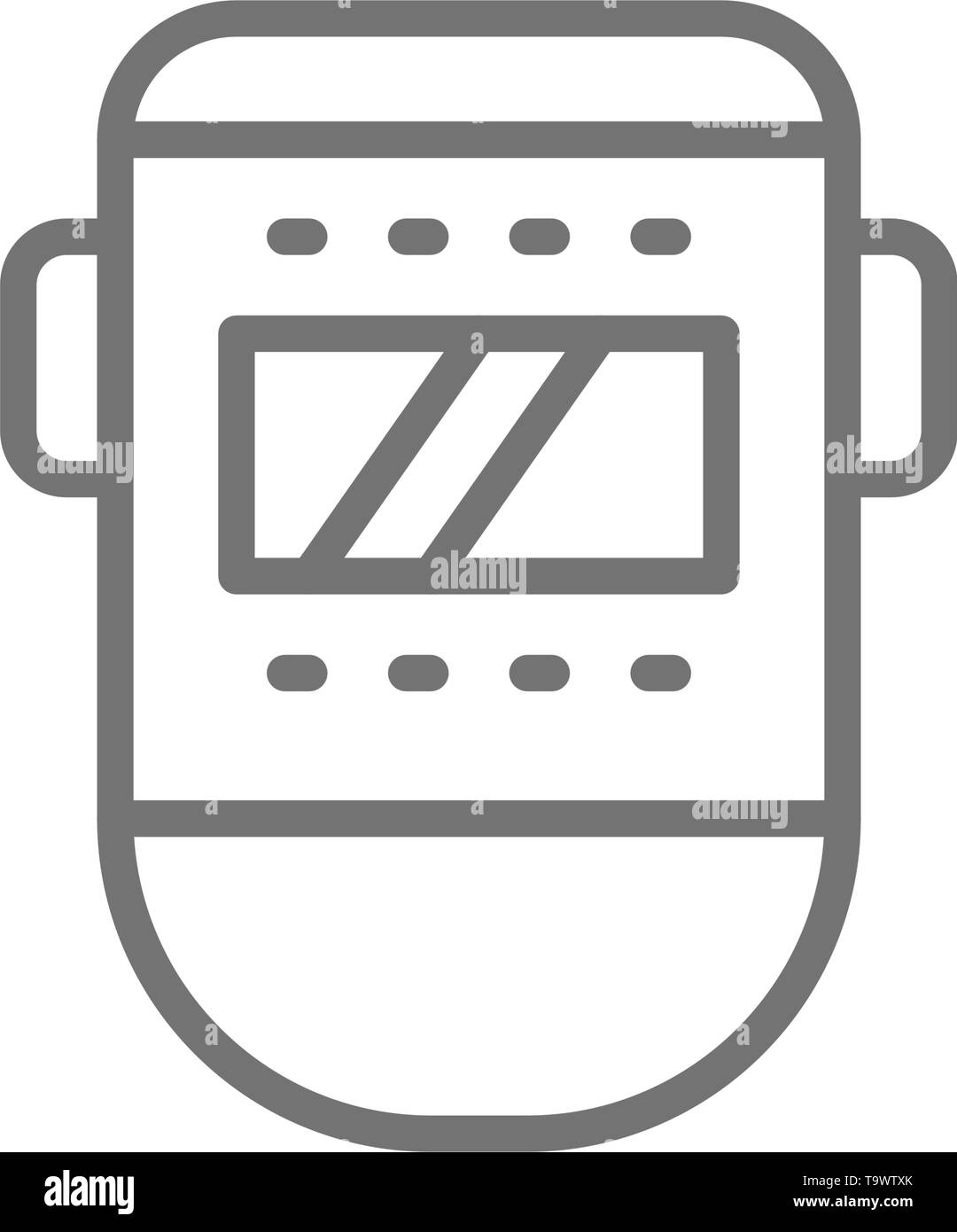 Vector welder mask, face protection line icon. Symbol and sign illustration design. Isolated on white background - Stock Image