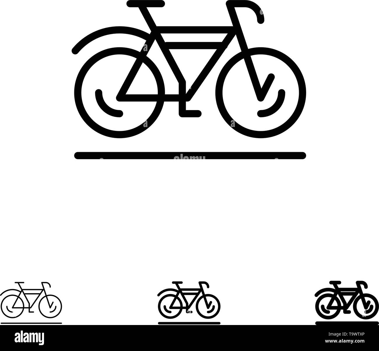 Bicycle, Movement, Walk, Sport Bold and thin black line icon set - Stock Image