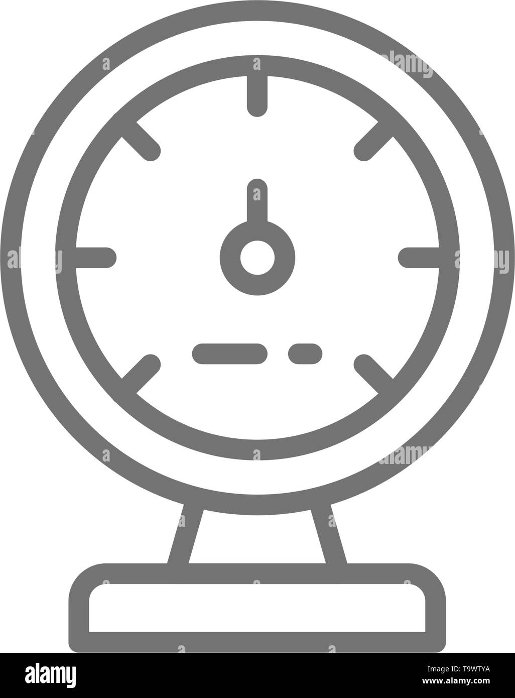 Manometer, device for measuring steam and water pressure line icon. Stock Vector