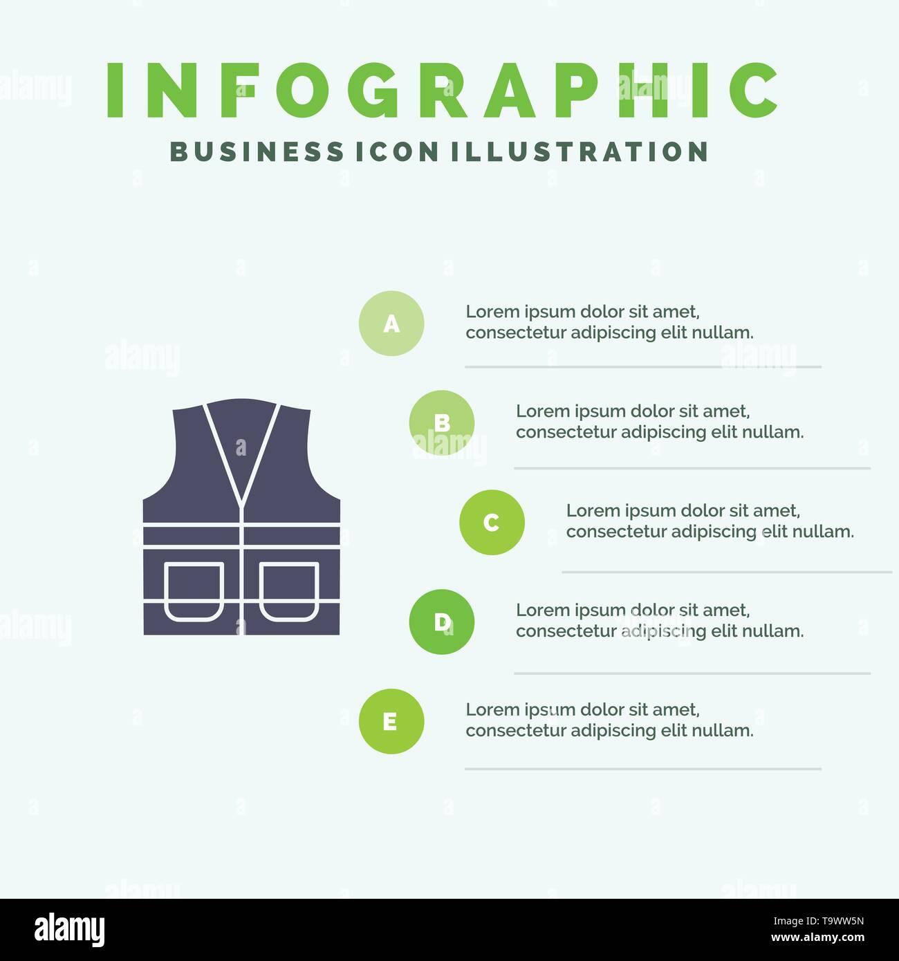 Vest, Jacket, Labour, Construction, Repair Solid Icon Infographics 5 Steps Presentation Background - Stock Image
