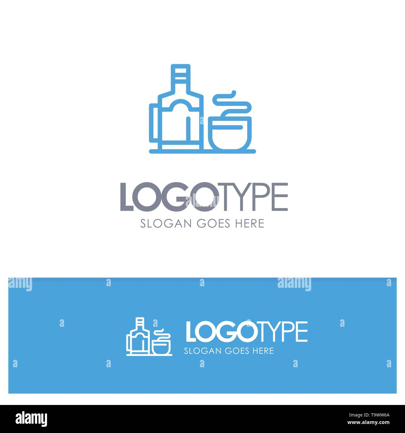 Tea, Cup, Hot, Hotel Blue Logo Line Style Stock Vector