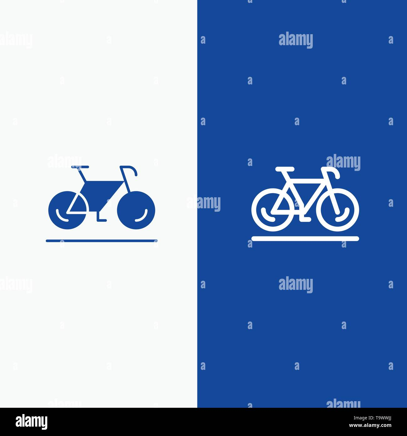 Bicycle, Movement, Walk, Sport Line and Glyph Solid icon Blue banner - Stock Image