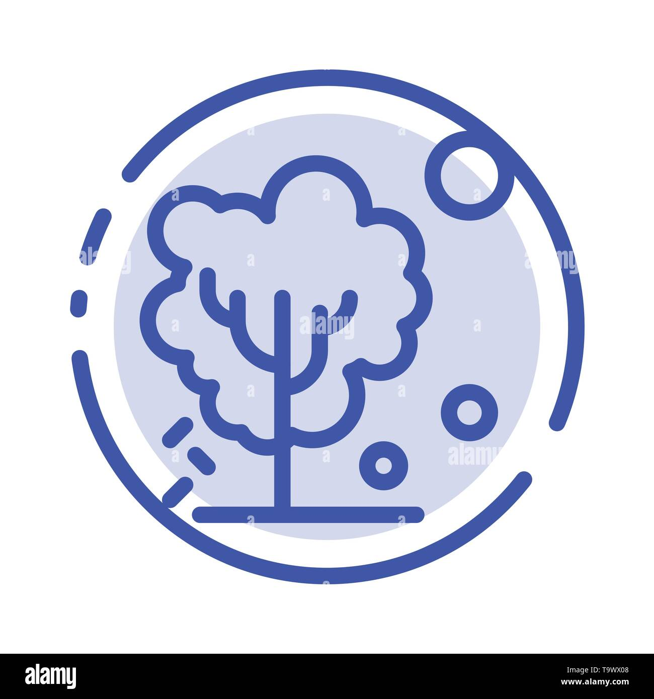 Dry, Global, Soil, Tree, Warming Blue Dotted Line Line Icon - Stock Image