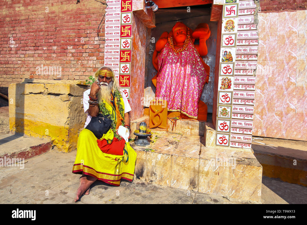 Indian Sadhu baba sitting in front of a Hanuman temple at Varanasi Ganges river ghat - Stock Image
