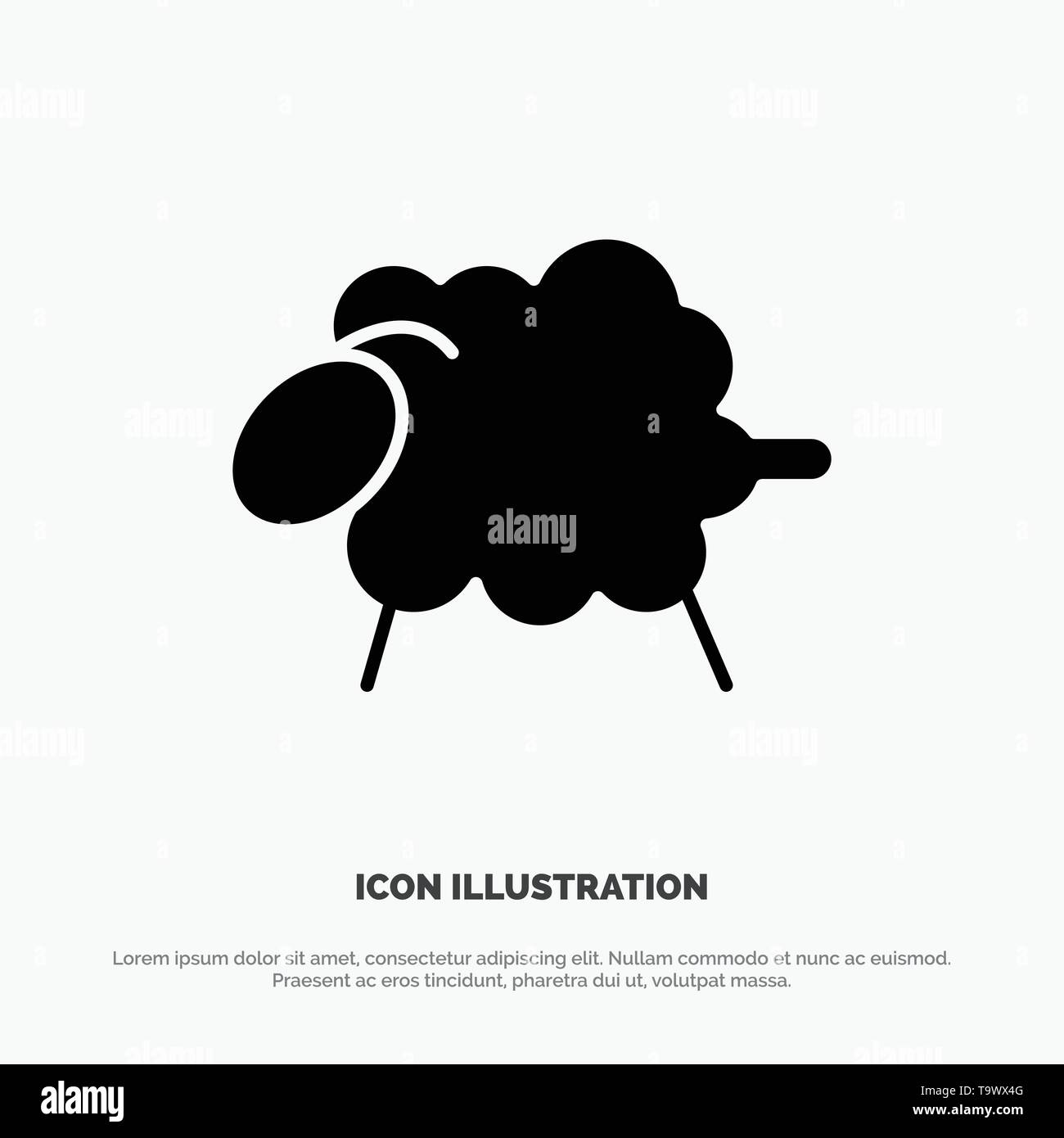 Lamb, Sheep, Wool, Easter solid Glyph Icon vector - Stock Vector