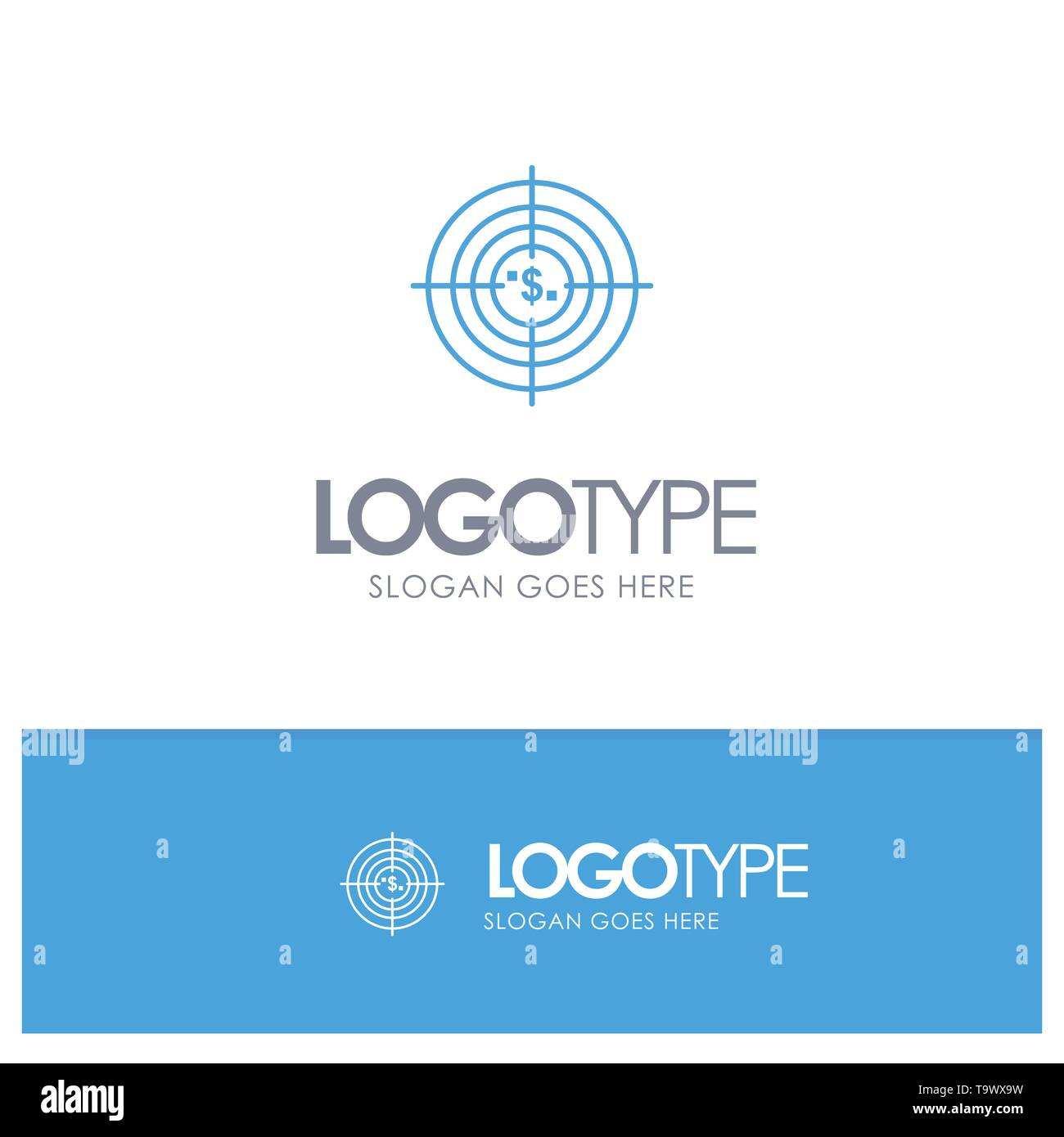 Target, Aim, Business, Cash, Financial, Funds, Hunting, Money Blue outLine Logo with place for tagline - Stock Image