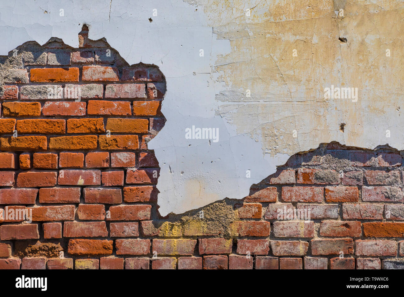Wall of deteriorating building in Sprague, Washington State, USA - Stock Image
