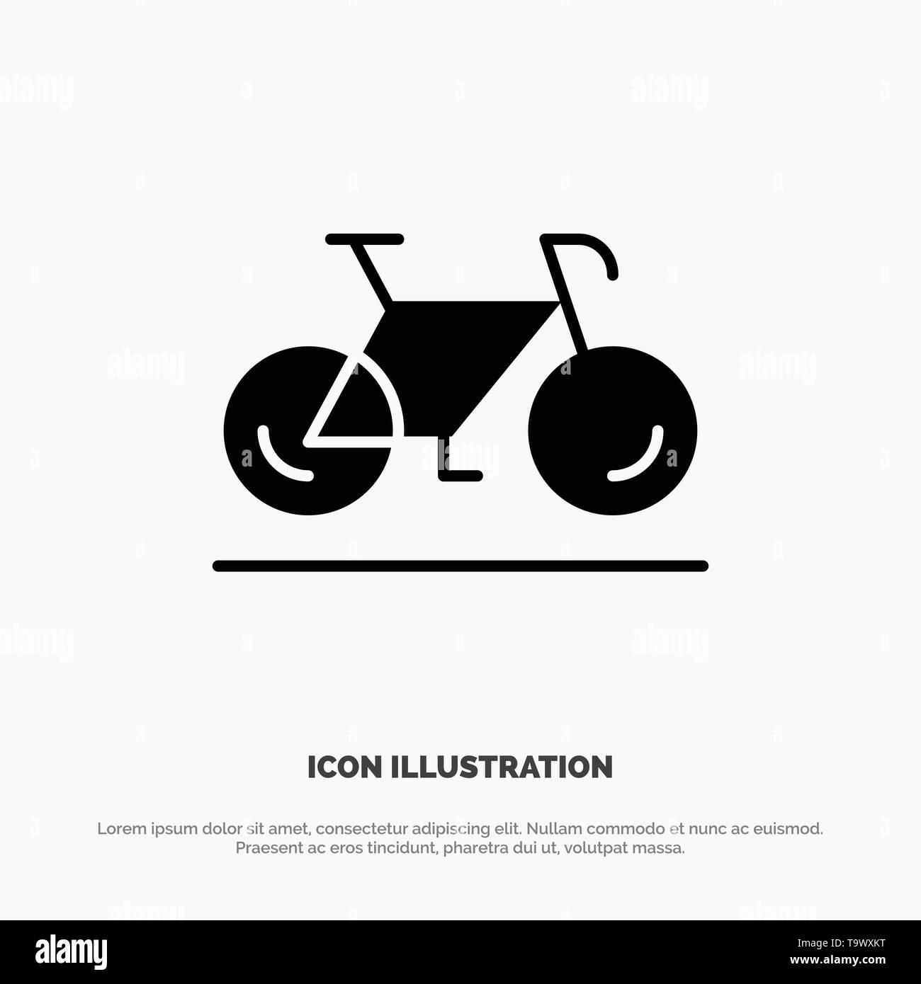 Bicycle, Movement, Walk, Sport Solid Black Glyph Icon - Stock Image