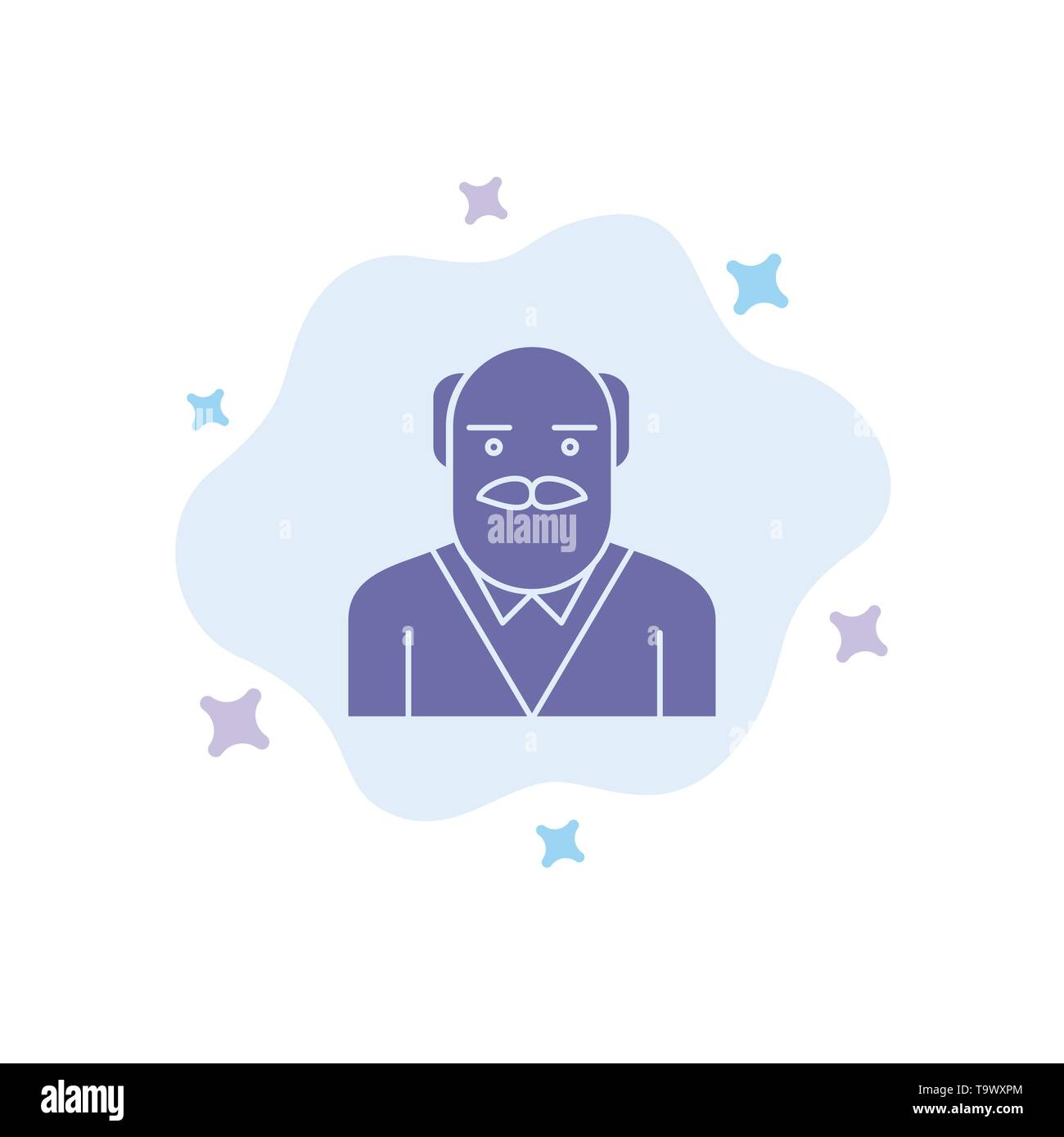 Grandpa, Father, Old Man, Uncle Blue Icon on Abstract Cloud Background - Stock Image