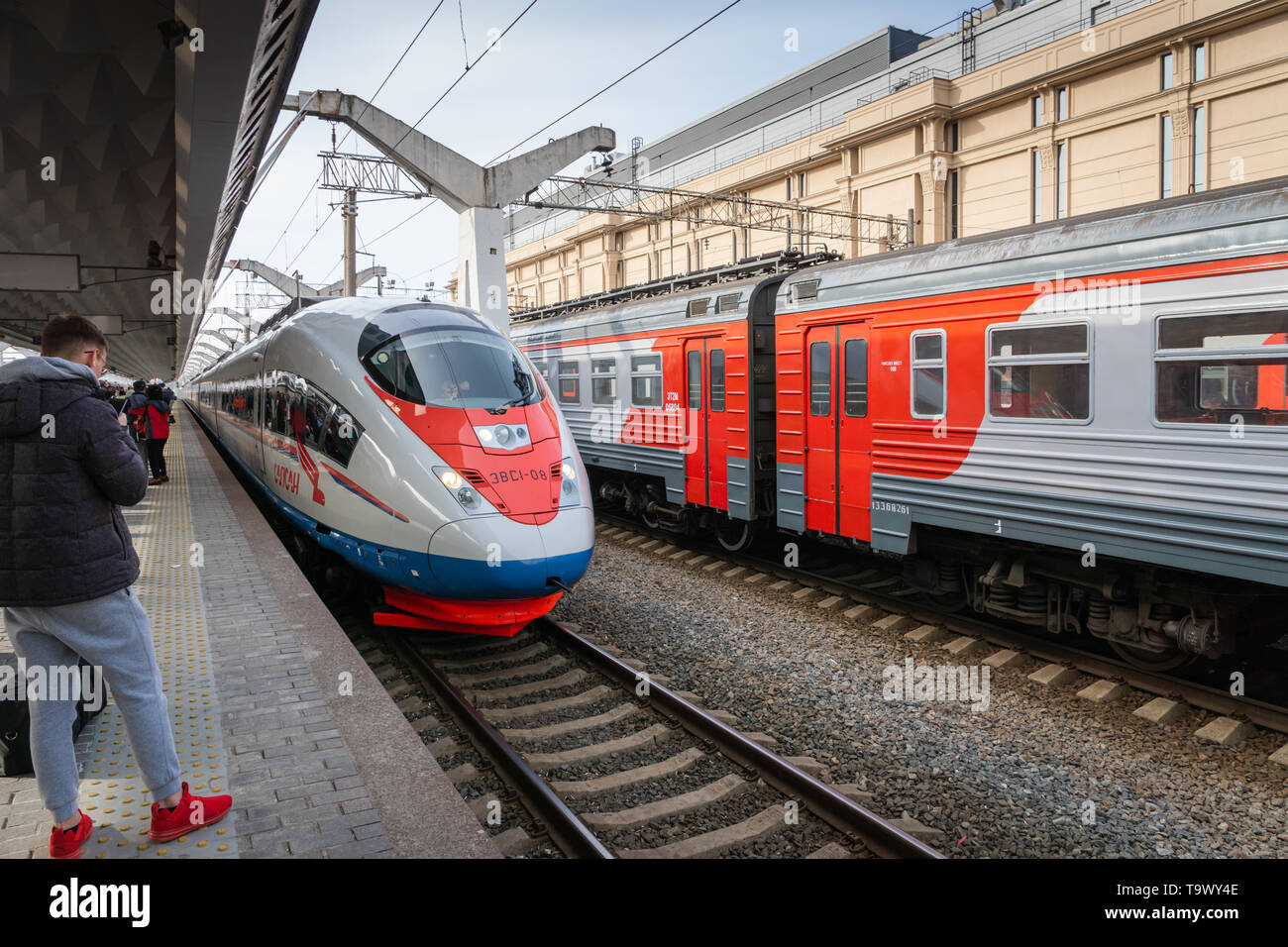 Saint Petersburg, Russia - May 2019: Sapsan train at the platform in Saint Petersburg Moscow train station. Sapsan is a Russian high-speed train - Stock Image