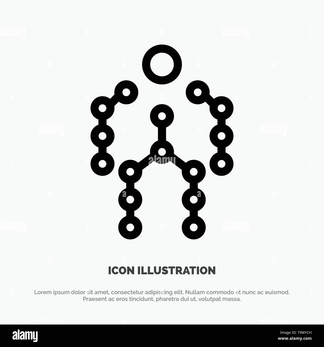 Action, Bones, Capture, Human, Motion Line Icon Vector - Stock Image