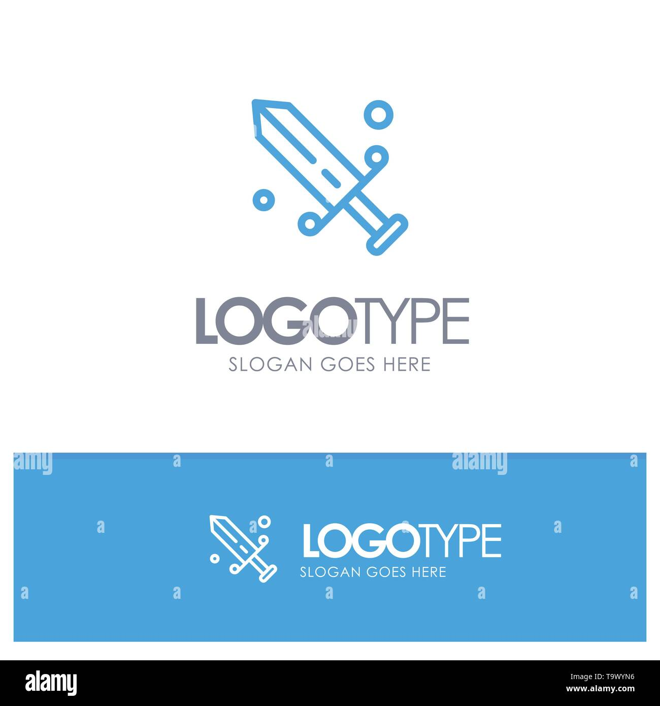 Competition, Fencing, Mask, Olympic Blue outLine Logo with place for tagline - Stock Vector