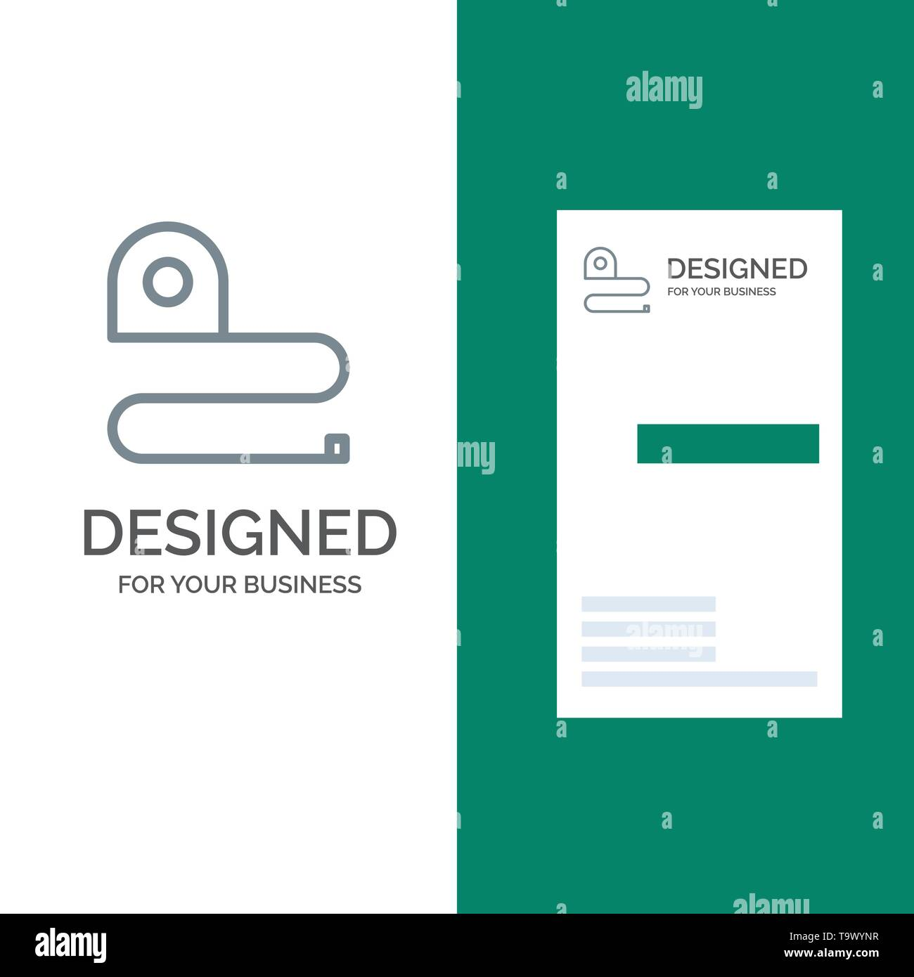 Construction, Measuring, Scale, Tape Grey Logo Design and Business Card Template - Stock Image