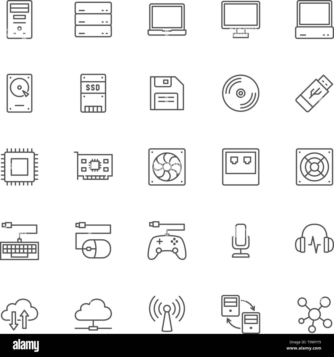 Set of Computer Components Line Icons. System Unit, Console, Server and more. - Stock Vector