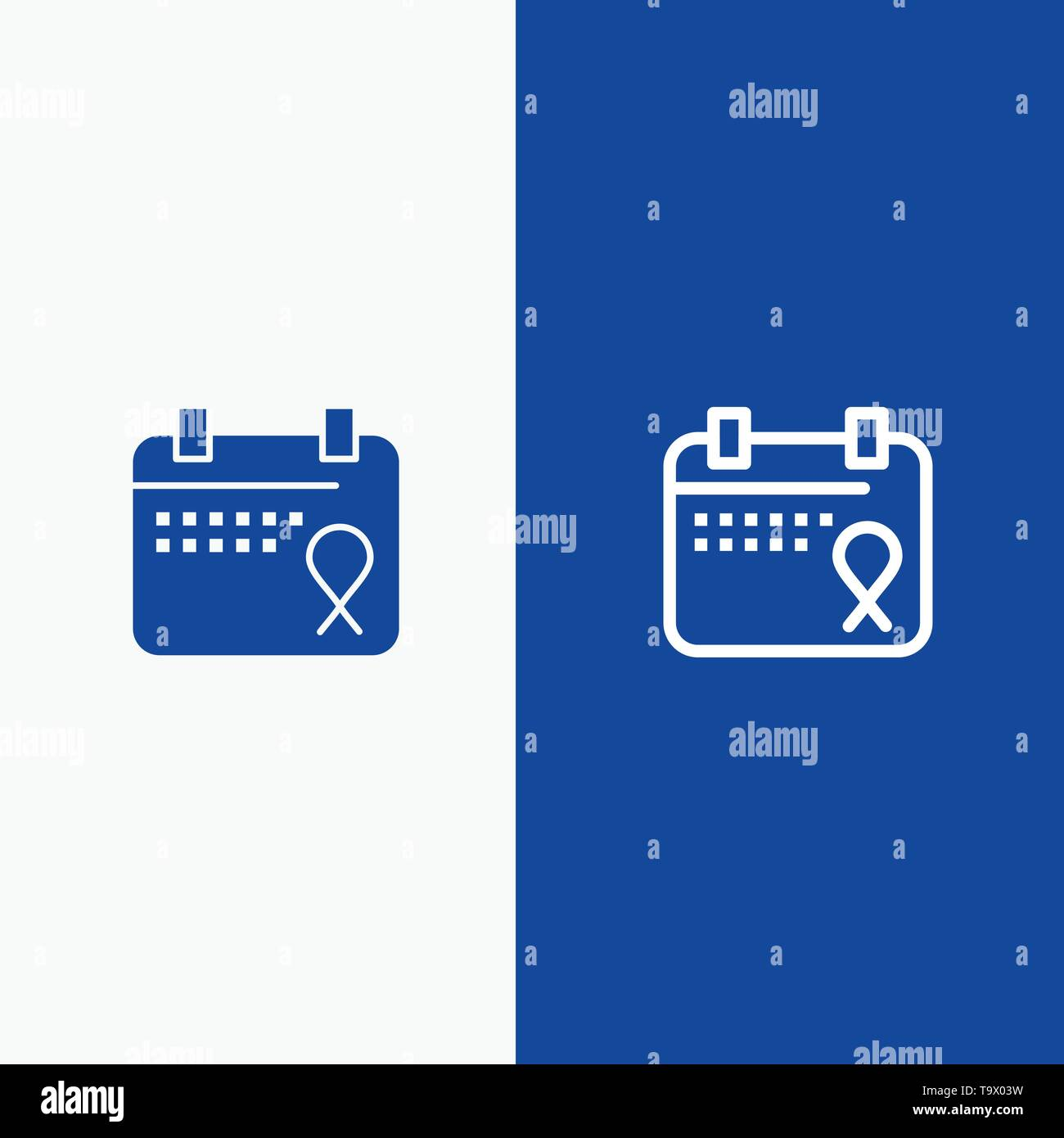 Calendar, Love, Operation, Date Line and Glyph Solid icon Blue banner - Stock Image