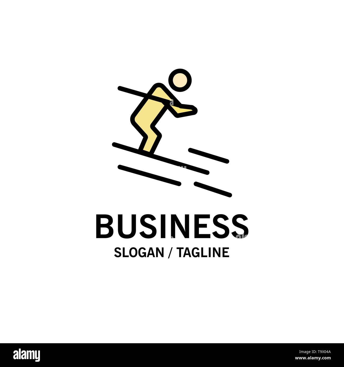 Activity, Ski, Skiing, Sportsman Business Logo Template. Flat Color - Stock Image